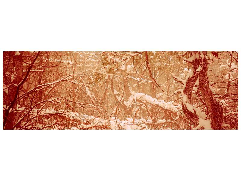 Aluminiumbild Panorama Schneewald