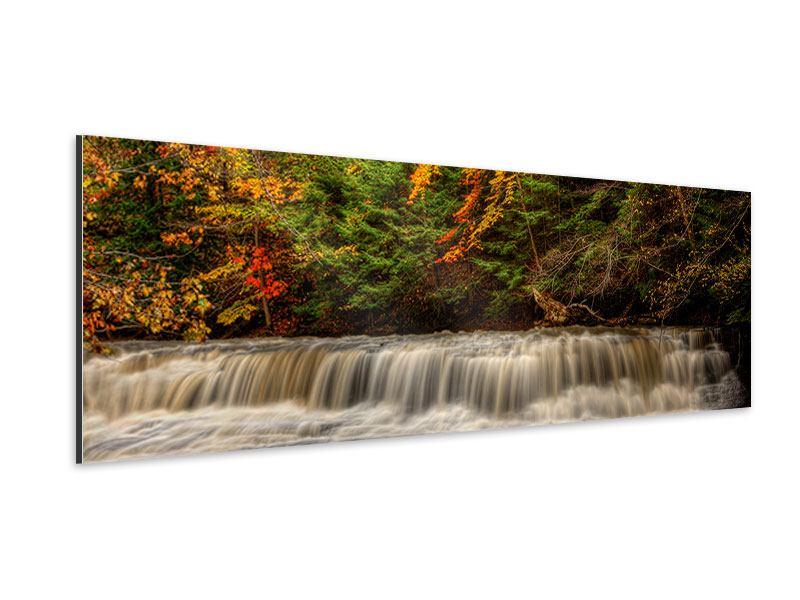 Aluminiumbild Panorama Herbst beim Wasserfall