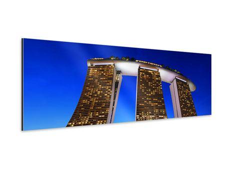 Aluminiumbild Panorama Wolkenkratzer Singapur