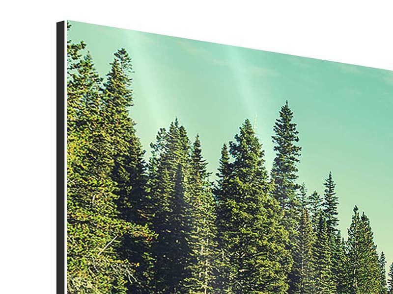 Aluminiumbild Panorama Die Musik der Stille in den Bergen