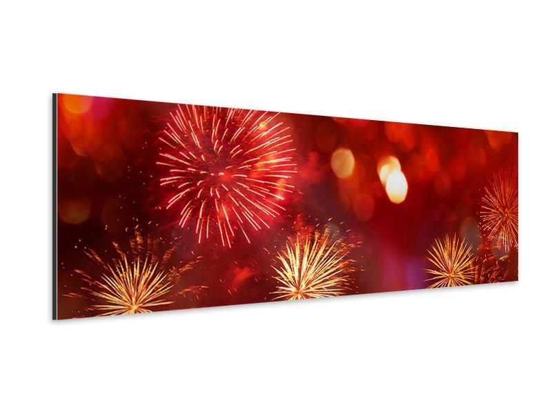 Aluminiumbild Panorama Buntes Feuerwerk