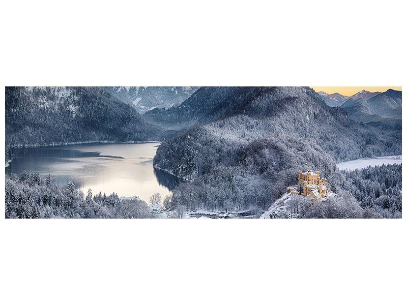 Aluminiumbild Panorama Schloss Neuschwanstein im Ammergebierge