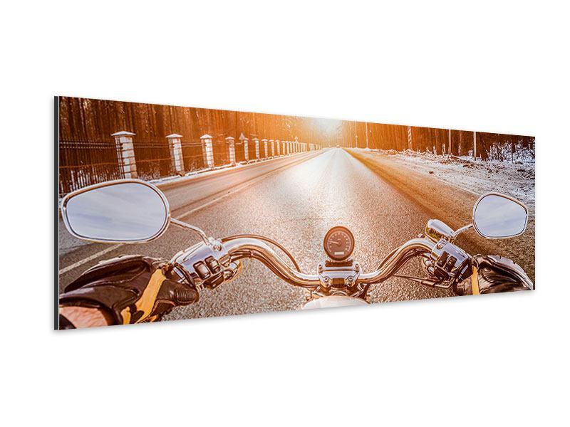 Aluminiumbild Panorama Auf dem Motorrad