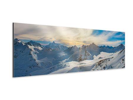 Aluminiumbild Panorama Über den verschneiten Gipfeln