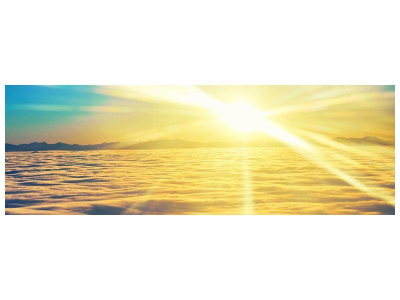 Aluminiumbild Panorama Sonnenuntergang über den Wolken
