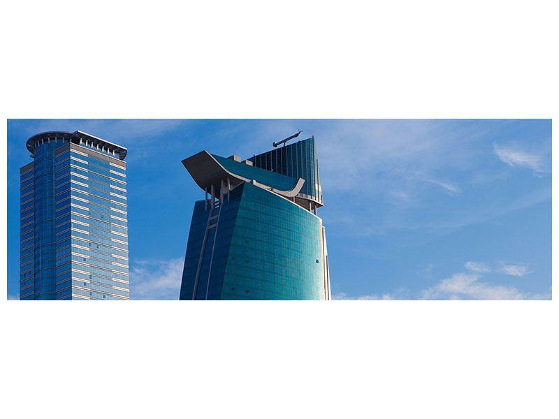 Aluminiumbild Panorama Zwei Wolkenkratzer