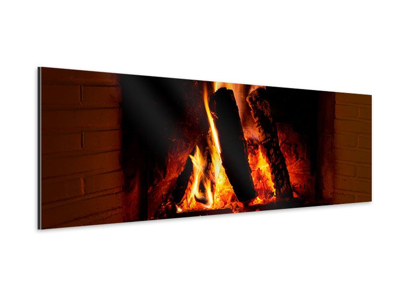 Aluminiumbild Panorama Feuer im Kamin