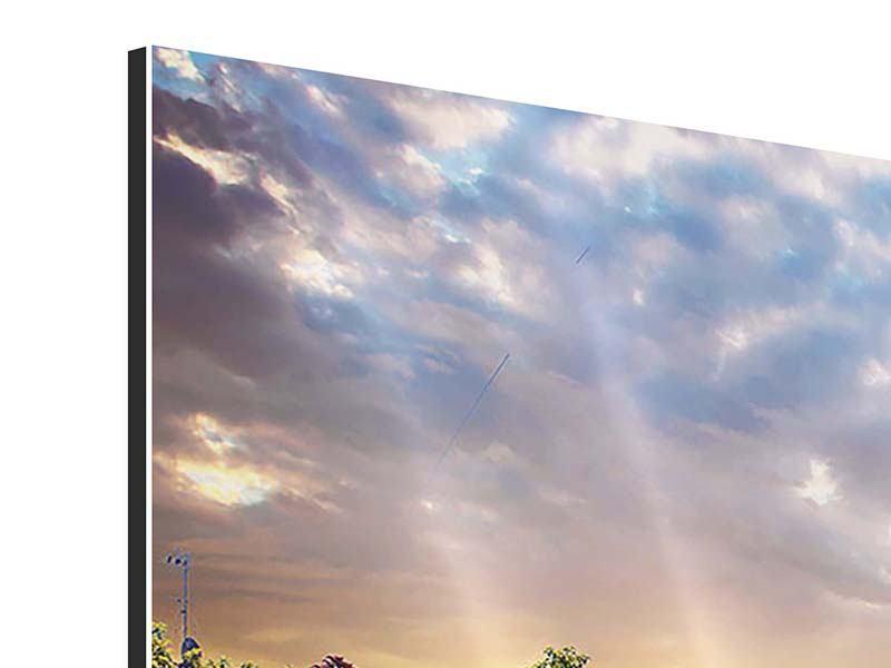 Aluminiumbild Panorama Schweizer Berge im Sommer