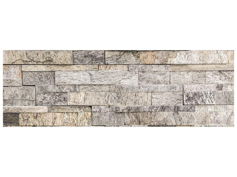 Aluminiumbild Panorama Elegante Steinmauer