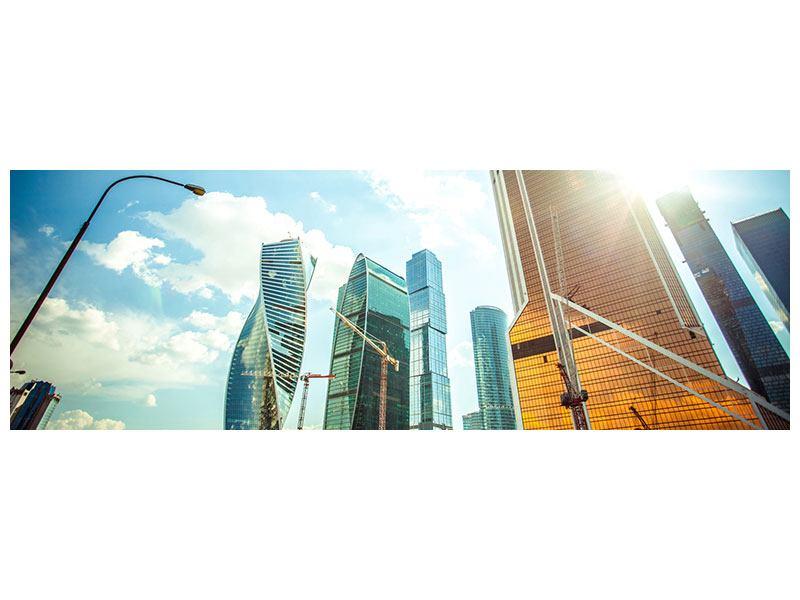 Aluminiumbild Panorama Wolkenkratzer Moskau
