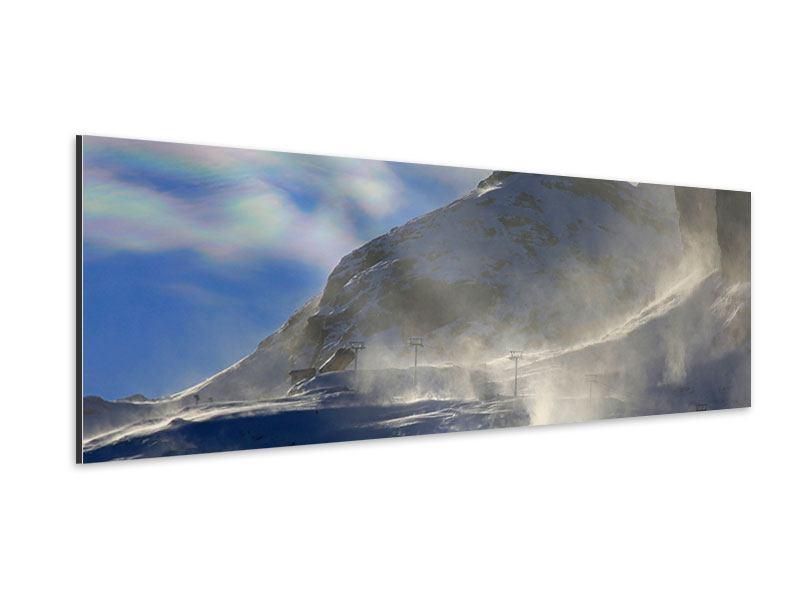 Aluminiumbild Panorama Mit Schneeverwehungen den Berg in Szene gesetzt