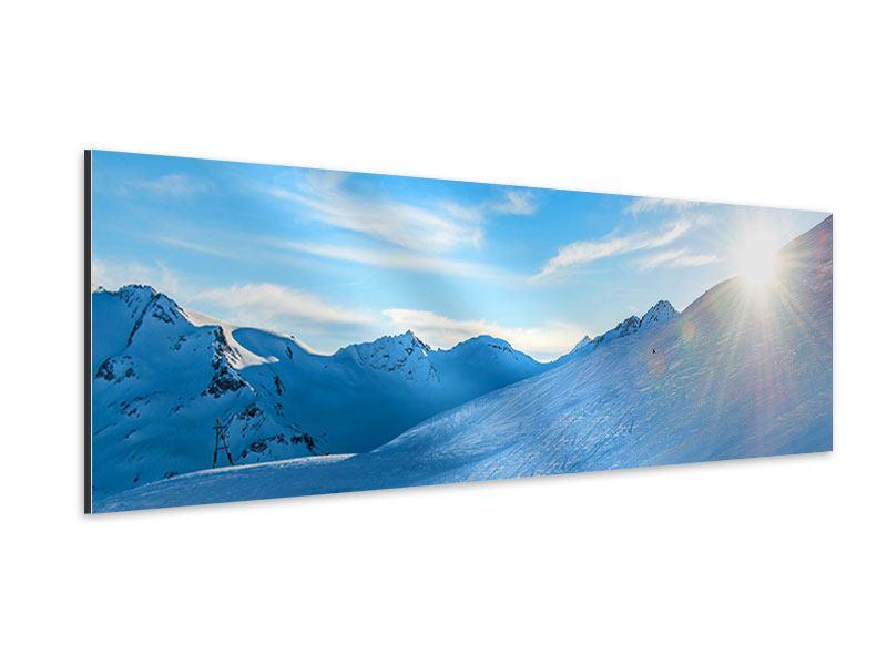 Aluminiumbild Panorama Sonnenaufgang in den Bergen