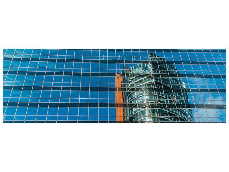 Aluminiumbild Panorama Wolkenkratzer-Spiegel