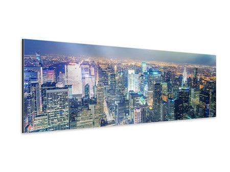 Aluminiumbild Panorama Skyline NY bei Sonnenuntergang