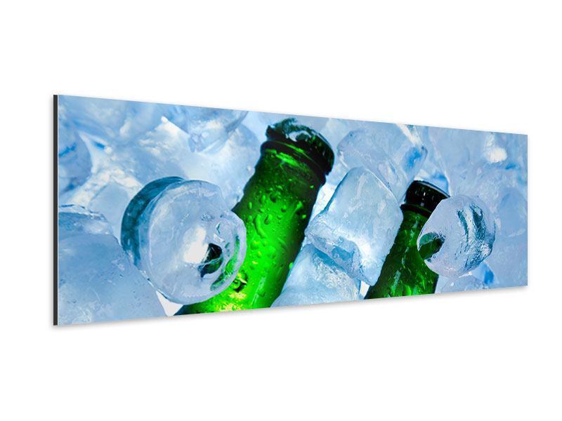 Aluminiumbild Panorama Eisflaschen