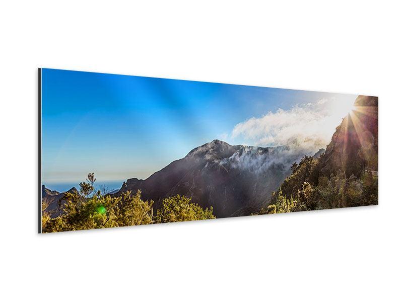Aluminiumbild Panorama Berge am Meer