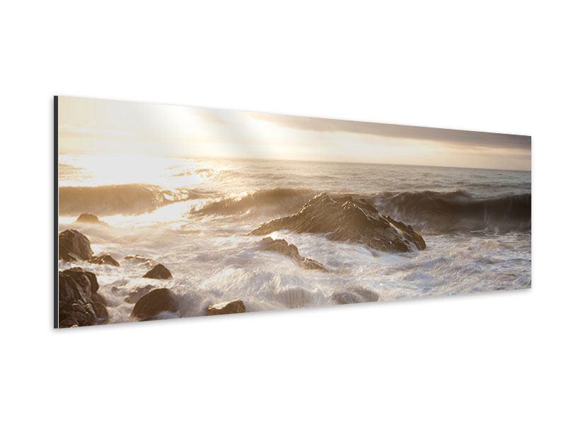 Aluminiumbild Panorama Meeresbrandung