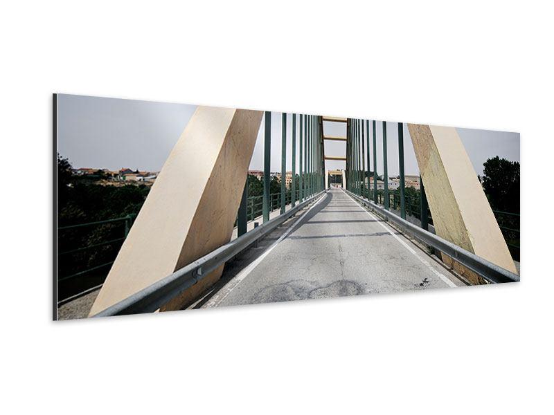 Aluminiumbild Panorama Imposante Hängebrücke
