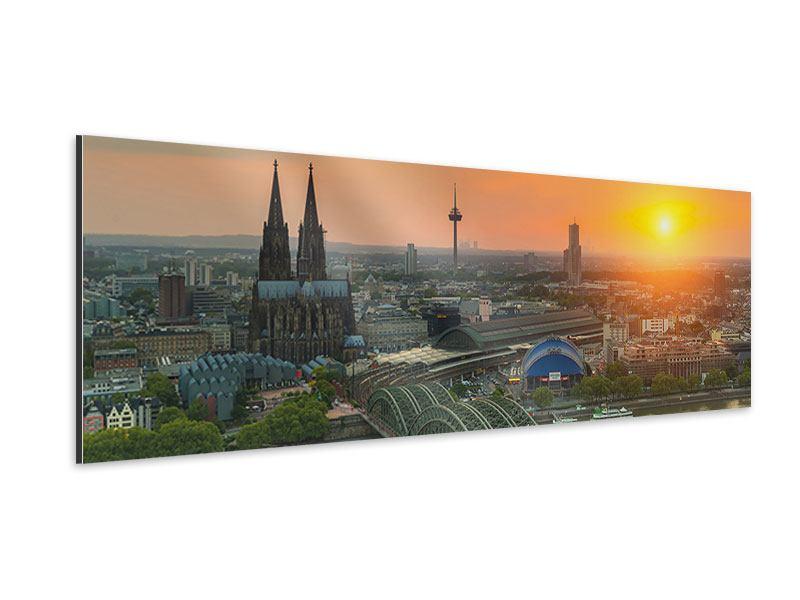 Aluminiumbild Panorama Skyline Köln bei Sonnenuntergang