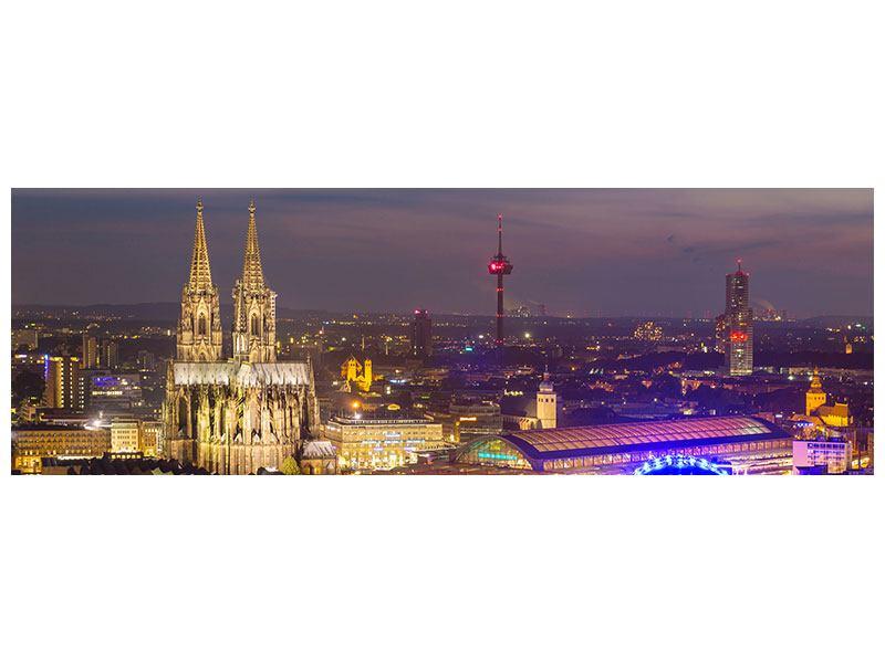 Aluminiumbild Panorama Skyline Kölner Dom bei Nacht