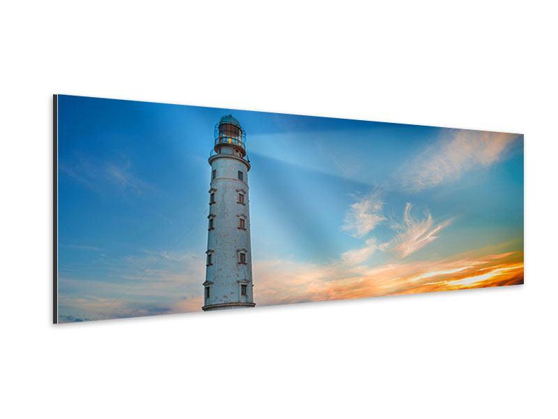 Aluminiumbild Panorama Sonnenuntergang am Leuchtturm