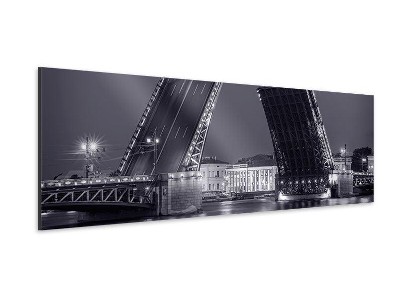 Aluminiumbild Panorama Klappbrücke bei Nacht