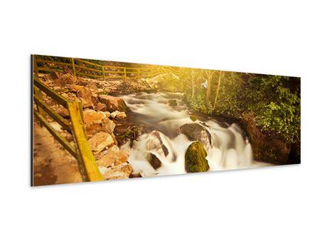 Aluminiumbild Panorama Sonnenuntergang am Wasserfall
