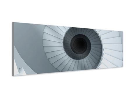 Aluminiumbild Panorama 3D Wendeltreppe