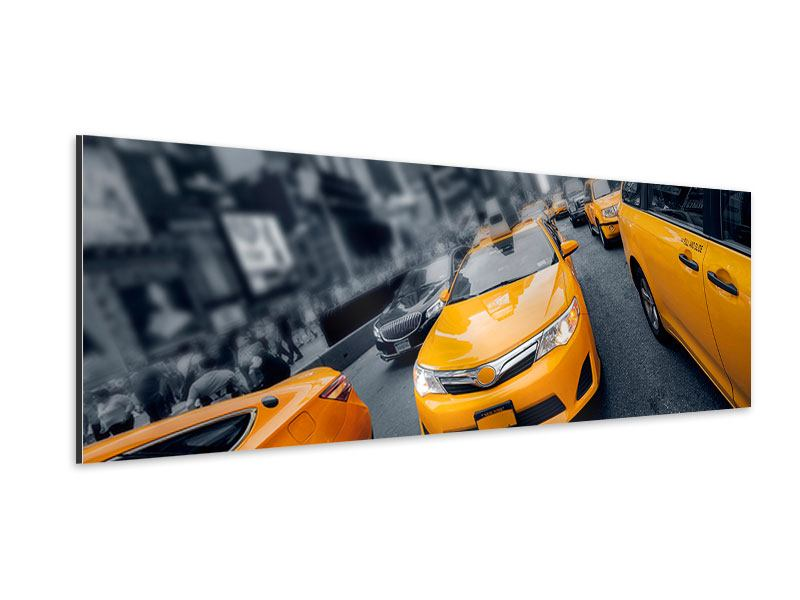 Aluminiumbild Panorama Taxi in NYC