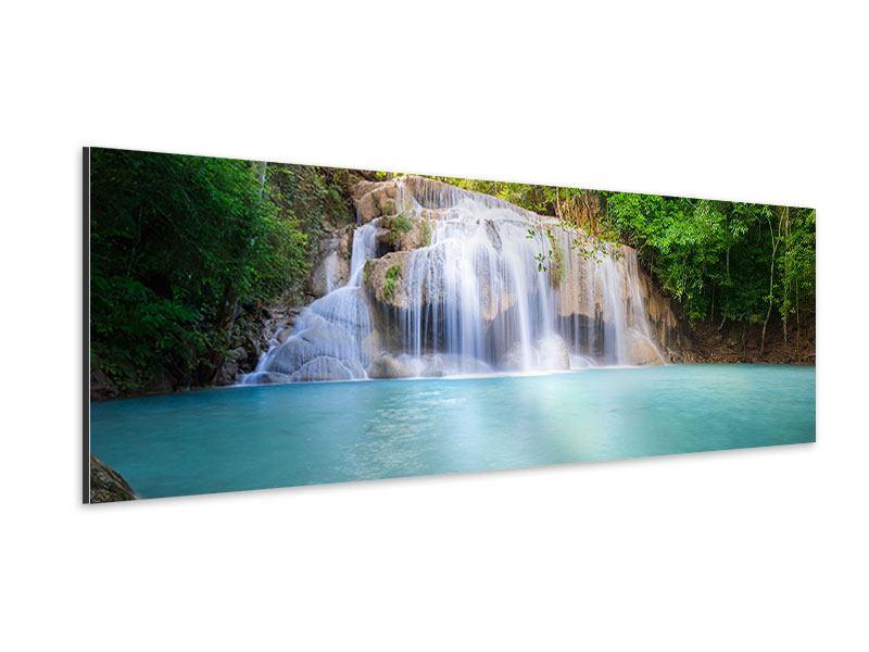Aluminiumbild Panorama Terrasse am Wasserfall