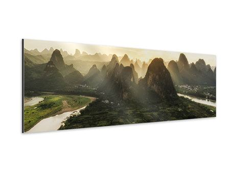 Aluminiumbild Panorama Die Berge von Xingping