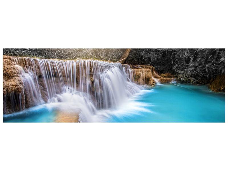 Aluminiumbild Panorama Glücklicher Wasserfall