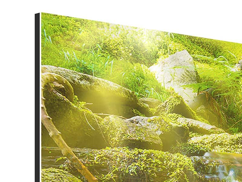 Aluminiumbild Panorama Schönheit des fallenden Wassers