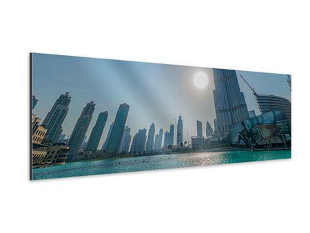 Aluminiumbild Panorama Wolkenkratzer-Architektur Dubai