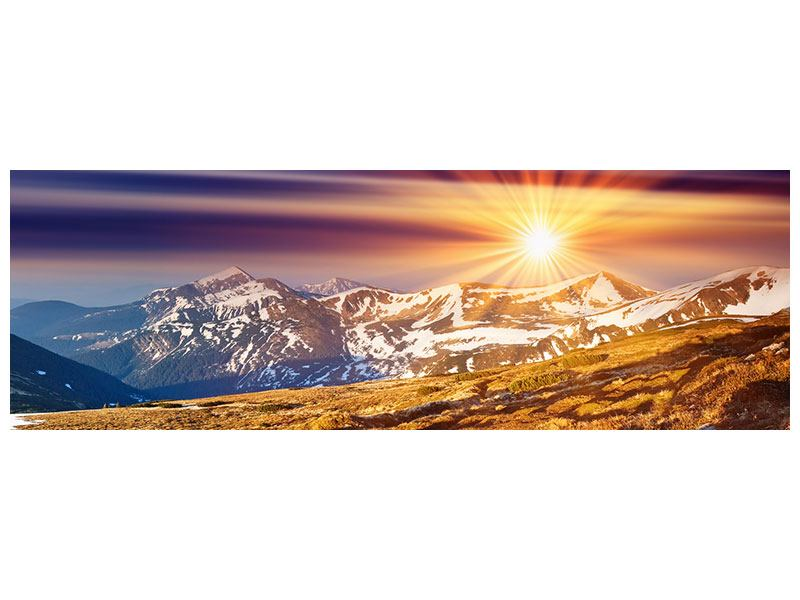 Aluminiumbild Panorama Majestätischer Sonnuntergang am Berggipfel