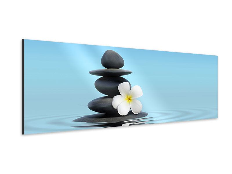 Aluminiumbild Panorama Zen Steine