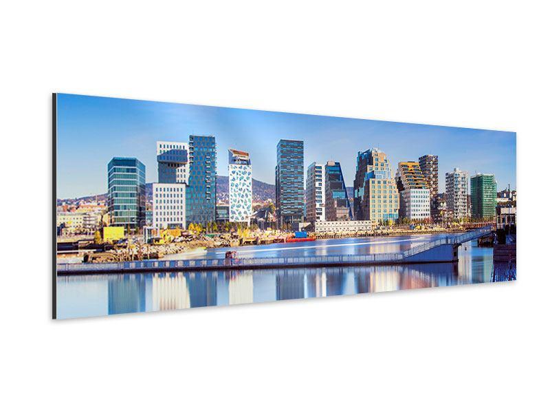 Aluminiumbild Panorama Skyline Oslo
