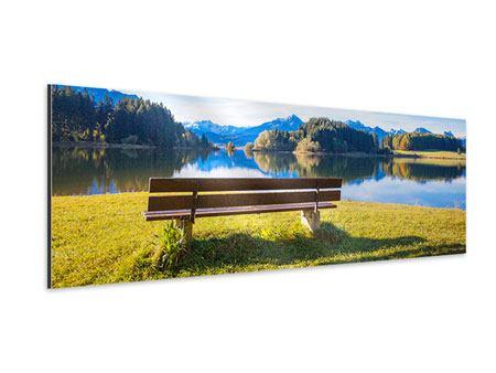 Aluminiumbild Panorama Sitzbank mit Bergpanorama