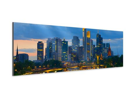 Aluminiumbild Panorama Skyline Frankfurt am Main