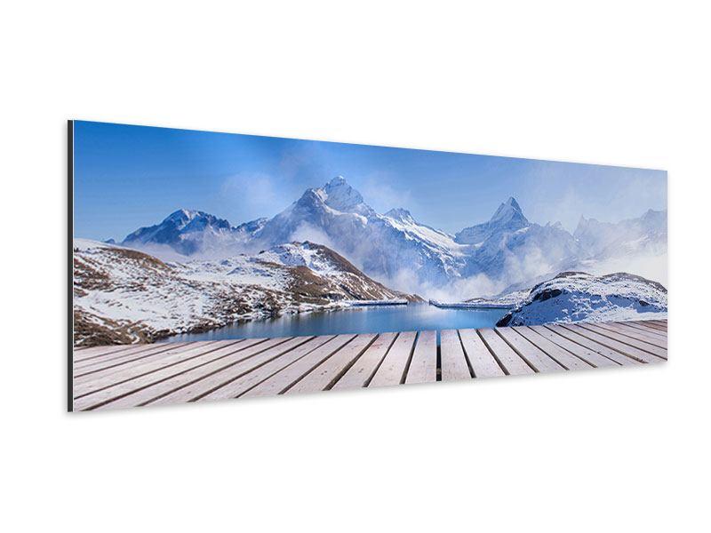 Aluminiumbild Panorama Sonnenterrasse am Schweizer Bergsee