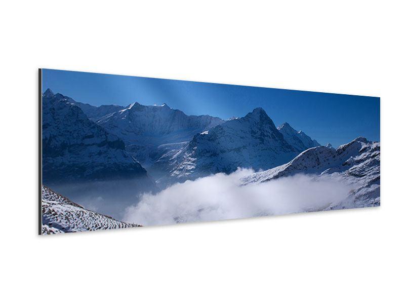 Aluminiumbild Panorama Sonnenterrasse in den Schweizer Alpen