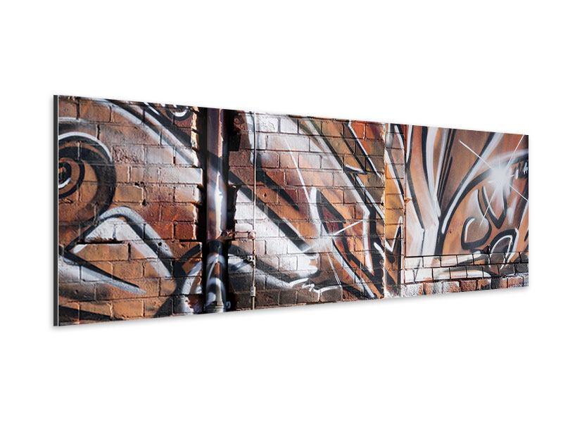 Aluminiumbild Panorama Graffiti Mauer