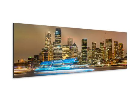 Aluminiumbild Panorama Skyline Sydney im Lichtermeer