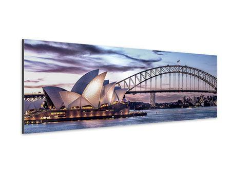 Aluminiumbild Panorama Skyline Sydney Opera House