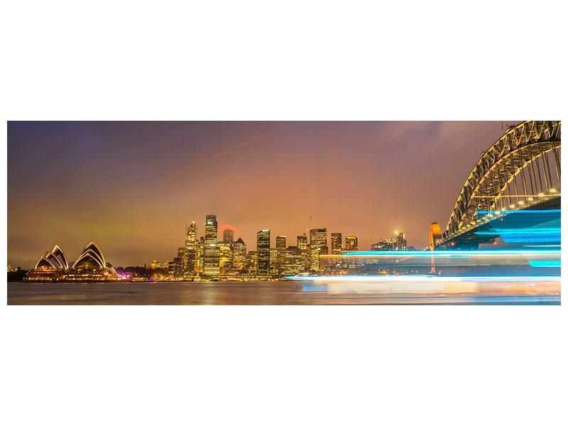 Aluminiumbild Panorama Skyline Opera House in Sydney im Abendlicht