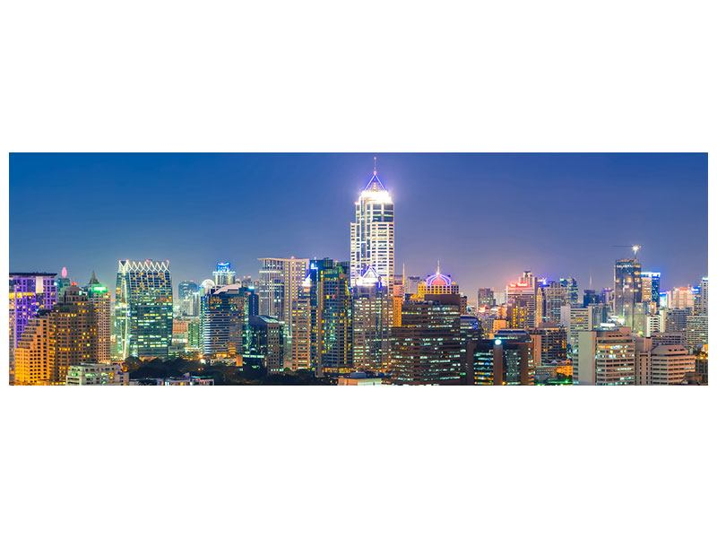 Aluminiumbild Panorama Skyline One Night in Bangkok