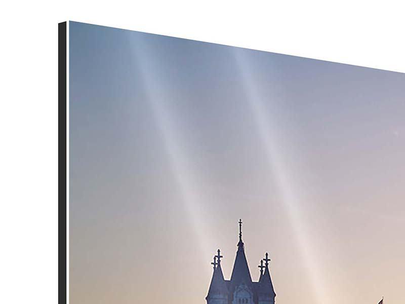 Aluminiumbild Panorama Tower Bridge bei Sonnenuntergang