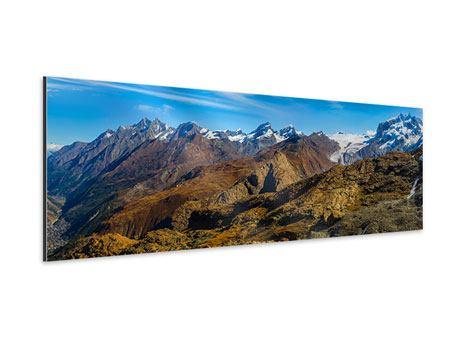 Aluminiumbild Panorama Schweizer Alpen im Frühling