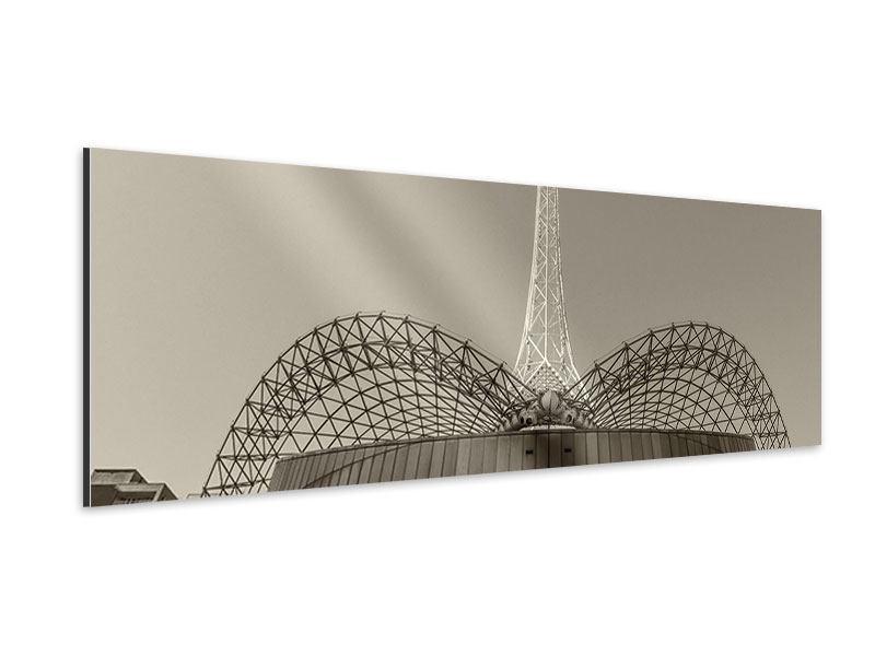 Aluminiumbild Panorama Close Up Wolkenkratzer