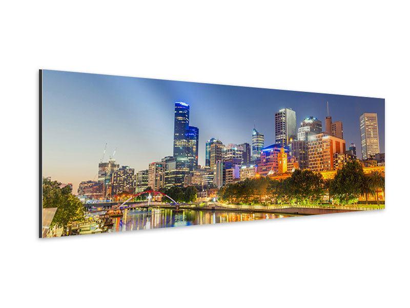 Aluminiumbild Panorama Skyline Sydney in der Abenddämmerung